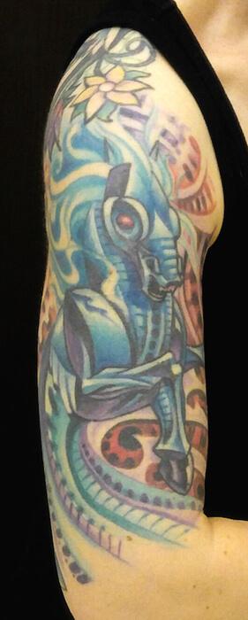 biomechanical horse tattoo