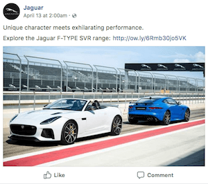 Jaguar Facebook example