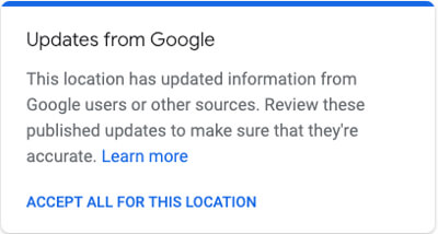 Text showing updates from Google.