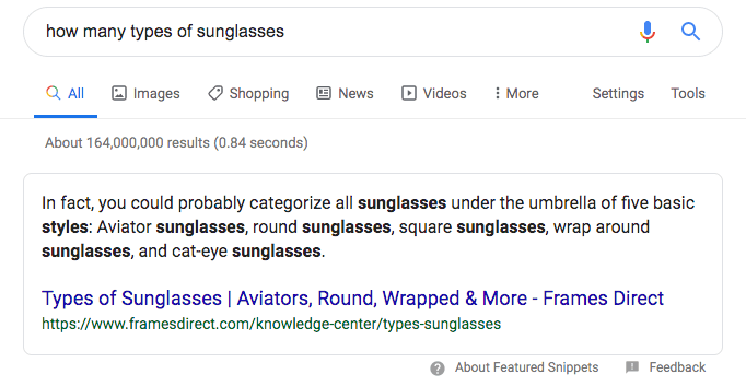 Sunglasses Feature Snippet Example