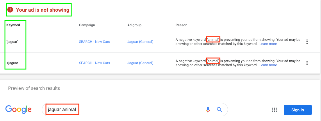 ad not showing because of a strong keywords list