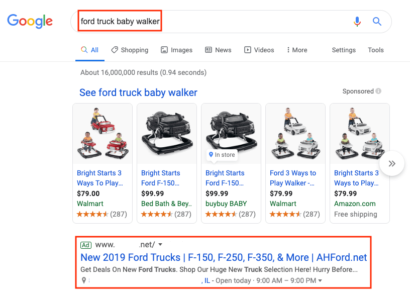 ad showing for irrelevant search