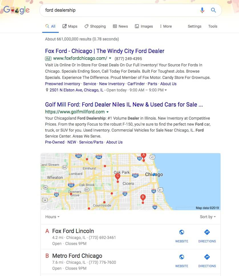 Google search for a ford dealer in Chicago
