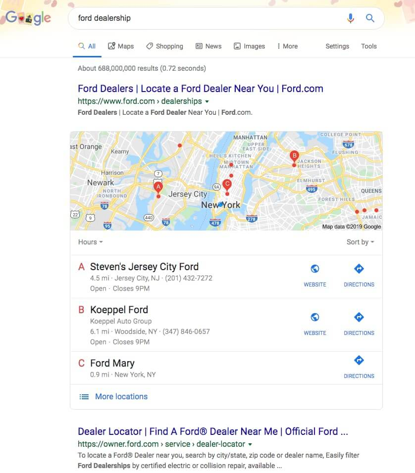 Google search for a ford dealer in New York