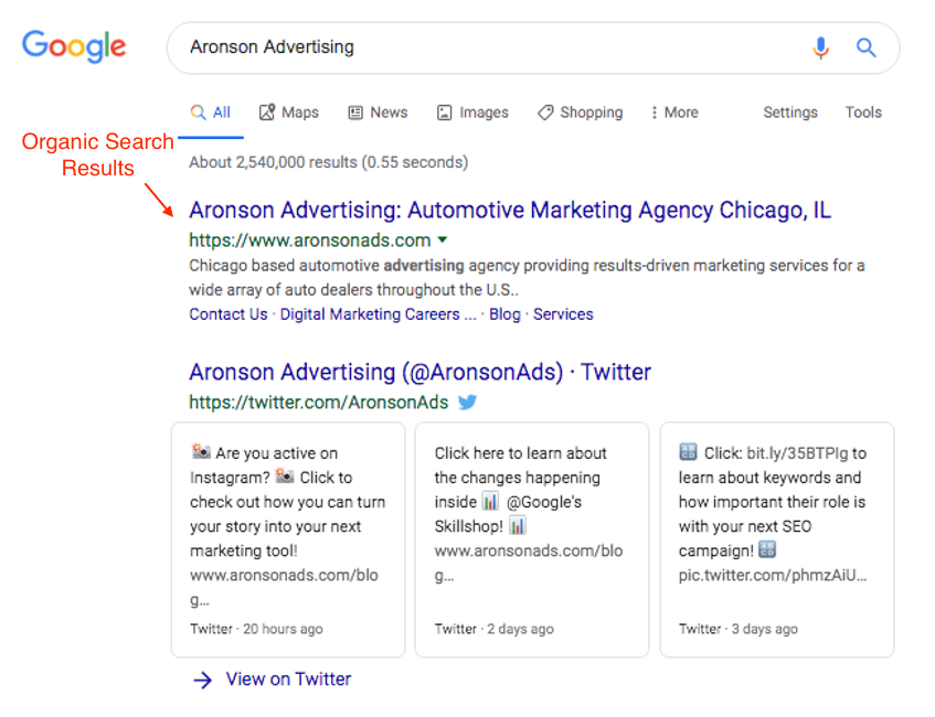 organic search result example