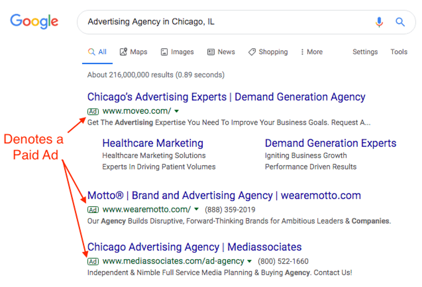 paid search result example