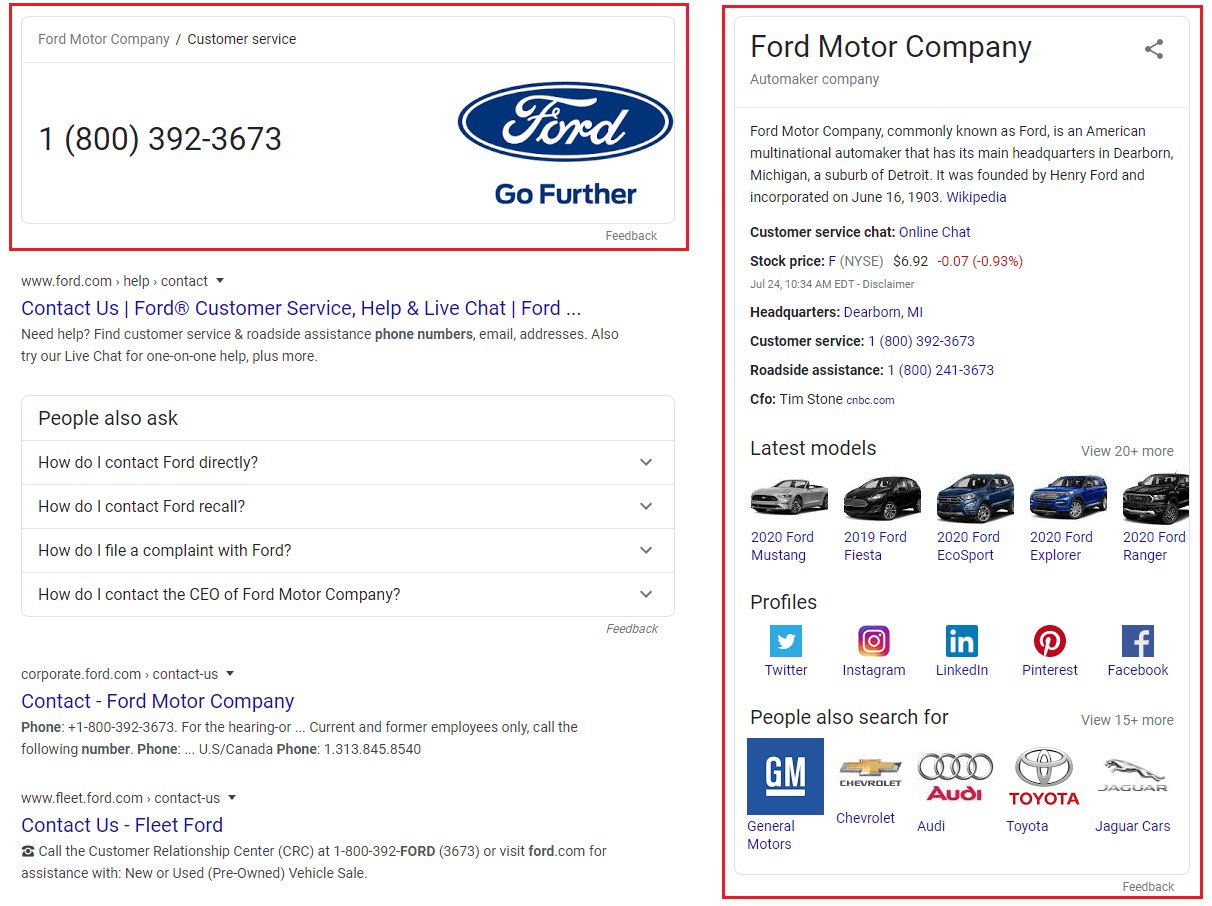 Schema data displayed on Google search results for Ford Motor Company