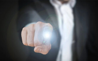 Man pointing finger with light